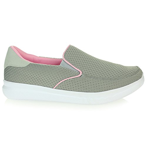 Womens Ladies Lightweight Memory Foam Comfort Easy Walking Running Trainers Grey Slip On Flat Shoes Size UK 4