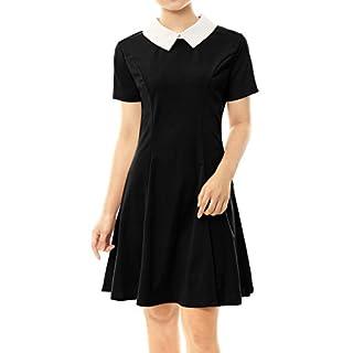 Allegra K Damen A Linie Kurzarm Panel Bubikragen Minikleid Kleid Schwarz XL(EU 48)
