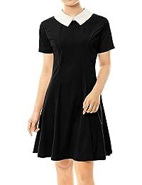 Allegra K Damen A Linie Kurzarm Panel Bubikragen Minikleid Kleid