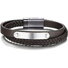 Vnox Hommes Personnalisé en Acier Inoxydable Véritable en Cuir Tressé  Bracelet Magnétique Boucle avec Étiquette, bdc306e91288