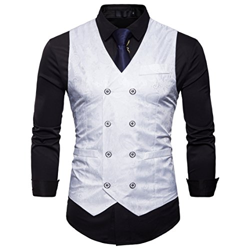 Showu Herren Paisley Weste Slim Fit Geschäft Hochzeit Elegant Anzugweste Stil Blazer (Weiß, S)