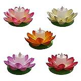 Mobestech - Lampada galleggiante a forma di candela, per laghetto, impermeabile, galleggiante, candela a forma di fiore, per giardino, piscina, 5 pezzi