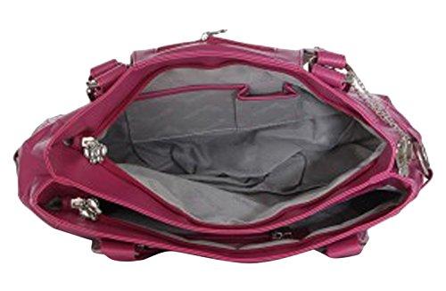 Butterflies rose sac à bandoulière ensemble des femmes de 2 pcs sac à main avec le portefeuille d'embrayage Rose et Beige