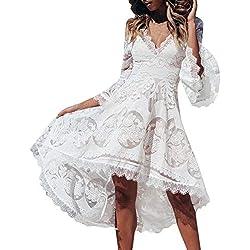 Vestido de Novia para Boda Blanco sin Mangas POLP Chaleco Largo Vestido Encaje Mujer Bodycon Dress Cintura Vestido de Fiesta Talla Grande Vestido de Noche Cuello V Mujer S-XL