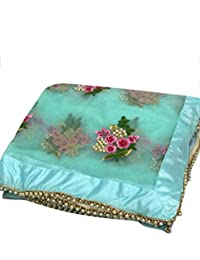 High Glitz Fashion Net Saree With Blouse Piece (Hgf1252_Blue_Free Size)