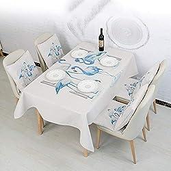 ZHAS Nappe Lavable en Lin de Coton rectangulaire, Anti-moisissure Anti-poussière de Nappe de modèle Simple, pour Cuisines extérieures (Taille: 85 * 150cm)