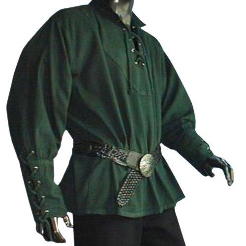 Piratenhemd mit Stehkragen Gr. XL Gothic Mittelalter grün 1605 Grün