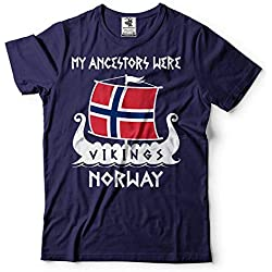 Silk Road Tees Arbol genealógico de los Hombres Vikingos Noruega Camiseta Vikings Roots Valhalla T Shirts Medium Armada
