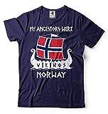 Silk Road Tees Arbol genealógico de los Hombres Vikingos Noruega Camiseta Vikings Roots Valhalla T...