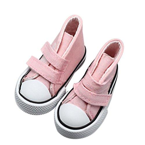 Vêtements de poupée,Fulltime Toile Magic Sticker Sneakers Chaussures pour 18 inch American Girl Boy Doll (rose)