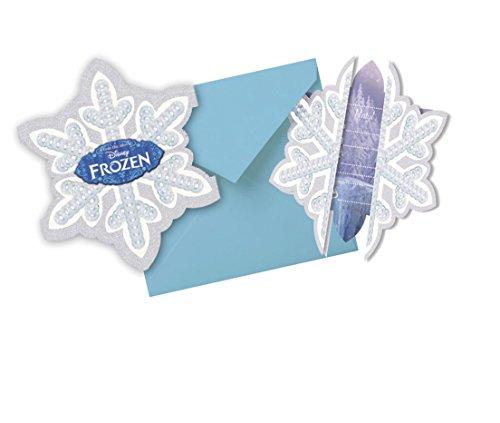 Decorata Party - 380148 - 6 Cartes D'Invitation En Forme De Flocon La Reine Des Neiges Disney- Avec Enveloppes