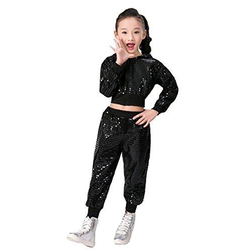 letten Hip Hop Kostüm Street Dance Kleidung gesetzt (146/152, Schwarz) (Hip Hop Mädchen Kostüm)