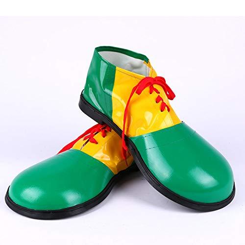 (Fsha-Book Halloween Cosplay Clown Schuhe - Unisex Erwachsene Jumbo Große Clown Schuhe Halloween Kostüme Zubehör,Green,UK1/UK7/EU34/EU40)