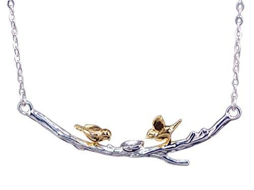 NicoWerk Silberkette mit Anhänger Vogel Ast Vergoldet Golden Ethno Halskette Damen 925 Silber Kette Schmuck Sterling SKE233