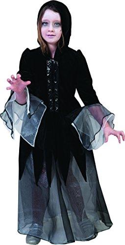 ives Halloween Kinder Kostüm - Deathly Dolores- Tüll Kleid mit Kapuze, 146-152, 11-12 Jahre, Schwarz (Waffe Xi Kostüm)