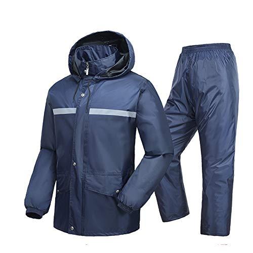 Reflektierender Mantel Radfahren Regenanzug Jacke Regenmantel Hosen Regen Tragen Motorrad Erwachsene Einzelnen Reiten Split Regenmantel Anzug Wasserdicht Herren Warnweste ( Farbe : Navy , Größe : XL ) (Tragen Navy Anzug)