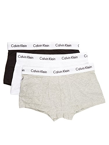 Calvin Klein Herren Boxershorts Cotton Stretch-3-Pack Low Rise Trunk, Grau/Weiß/Schwarz,S (Trunk Logo-print)