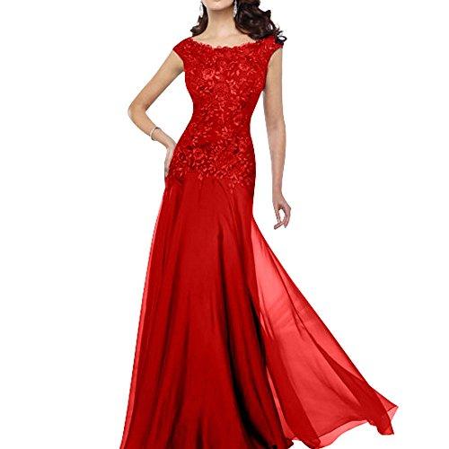Charmant Damen Formal Spitze Chiffon Brautmutter Abendkleider Partykleider Ballkleider Lang Etui Neu Rot