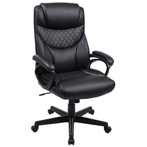 SONGMICS ergonomischer Bürostuhl, Chefsessel, 360° Drehstuhl schwarz OBG23BK