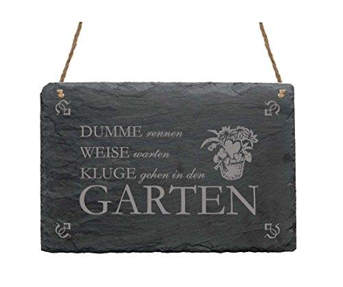 Schiefertafel « DUMME RENNEN - WEISE WARTEN. » mit Motiv & Spruch - für Haushalt Garten Zuhause - Schild Dekoschild Dekoration - Geschenk Gärtner Florist