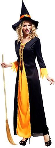 ostüm Verkleidung Karneval und Halloween von Hexe Vettel Zauberin Mittelalterlich Farbe Schwarz Erwachsene Frau Mädchen (Mittelalterliche Zauberin Kostüm)
