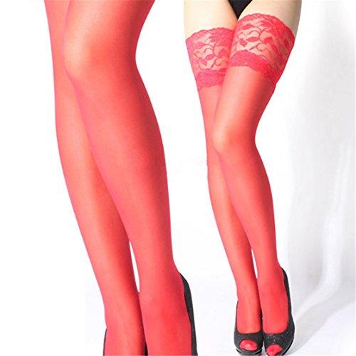 Loveso Frauen Lace Big Dot Strumpfhosen Strümpfe Strumpfhosen Punkte Socken (Rot)