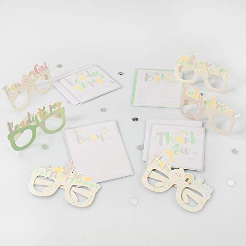 Party-Spiele und Foto-Requisiten-Set für Babyparty, Einladungen, Spiele, Brille und Dankeskarten (38 Stück)