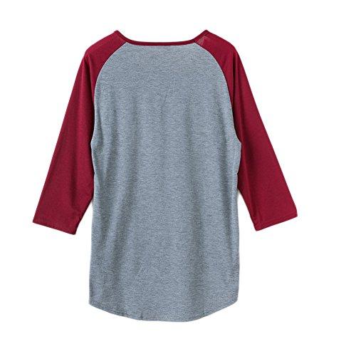 ROPALIA Casual Femme Blouse T-shirt Lettre Imprimé à Manche 3/4 A