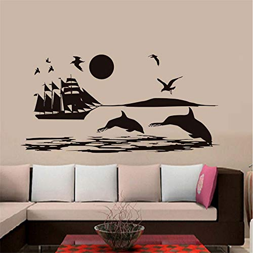 Cchpfcc Möwen Shark Ship On The Sea Wandaufkleber Für Kinderzimmer Dekoration Landschaft Wandvinyl Removable Diy Wandtattoos Wohnkultur Wandaufkleber Size58 * 118 Cm