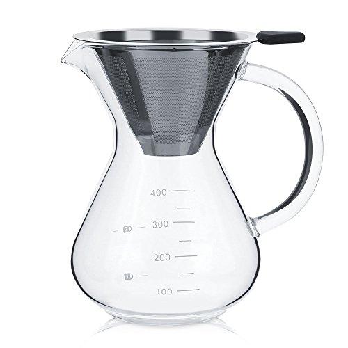 Diyeeni 400ml Kaffeebereiter mit Permanentfilter, Drip Coffee Maker Hitzebeständiges Glas Mehrlagig, Geeignet für Eiskaffee und Tee Stylishes Geschenk Für Kaffeeliebhaber