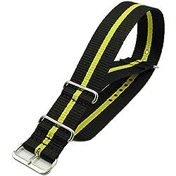 Time Nylon Drawstring Bracelet In Black Yellow-18mm