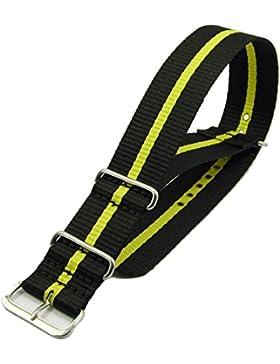 ZeitPunkt Nylon Durchzugsband schwarz gelb - 22mm