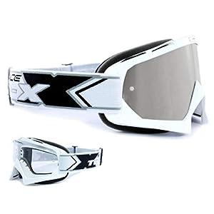 TWO-X Race Crossbrille Weiss Glas verspiegelt Silber MX Brille Motocross Enduro Spiegelglas Motorradbrille Anti Scratch MX Schutzbrille