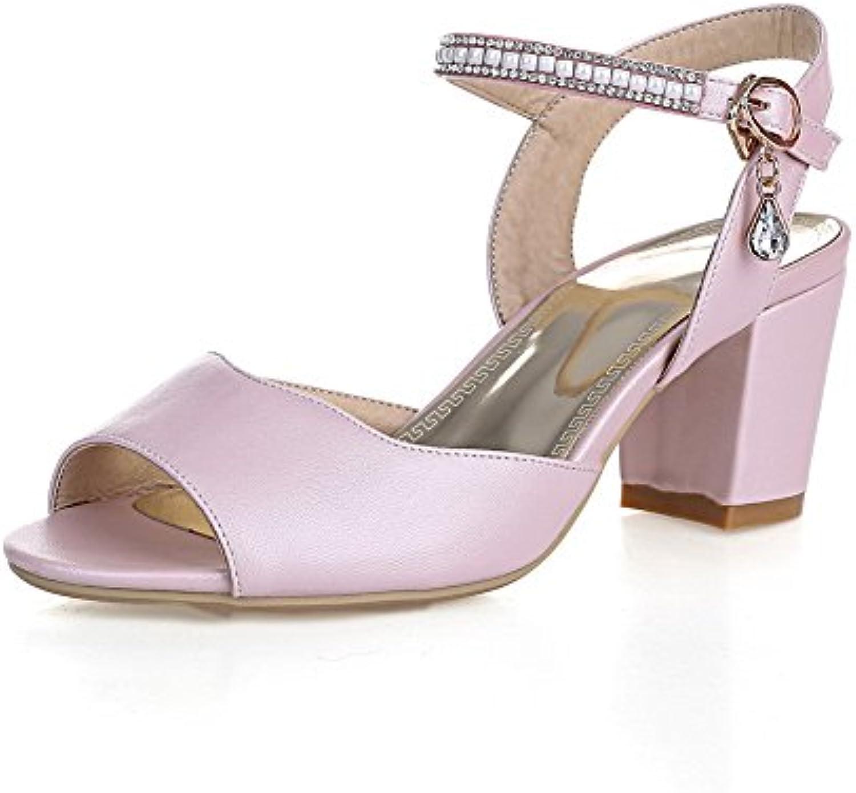 c279ca035a3 AgooLar Women s Women s Women s Soft Material Peep Toe Kitten-Heels Buckle  Solid Sandals B01I4I0PAO Parent