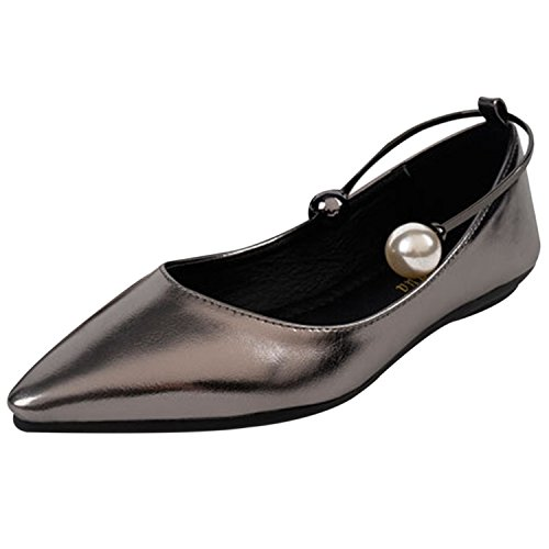 Oasap Women's Pointed Toe Pearl Flat Shoes silver