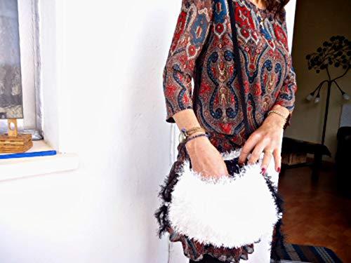Boho-Beutel mit Fransenkordelzug, weiße und schwarze Hippiebraut-Umhängetasche mit weichem Glanz -