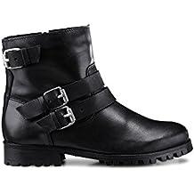 Cox Damen Biker Boots - Stiefelette - Ankle Boots - Biker Stiefel -  Glattleder - mit 6d89fc8cee
