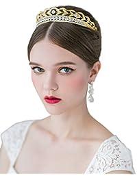SWEETV Elegante Cristal Princesa Tiara Diadema Boda Corona Cristalina Nupcial Tocado