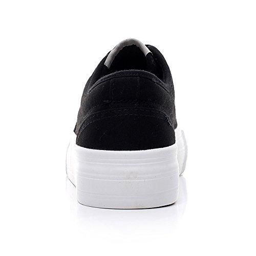 Renben Fille Femmes Élégant Toile Plate-forme Lacets Confort Marche / Randonnée Baskets Chaussures Noir