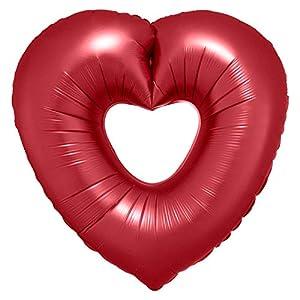 Amscan International Anagram 3871701 - Globo de aluminio con forma de corazón abierto, color naranja