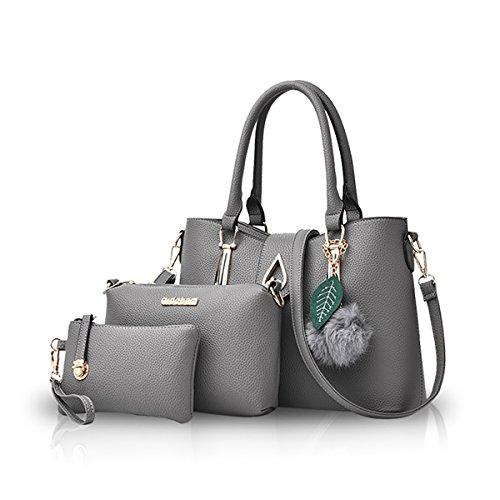 NICOLE&DORIS Moda 3 PCS Bag Borsetta Spalla Donna Crossbody Totes Messaggero Morbido PU Grigio Grigio