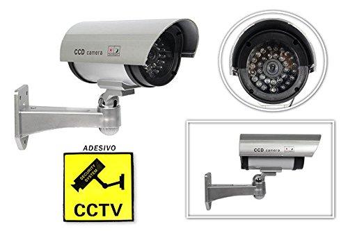 Vetrineinrete® Telecamera di videosorveglianza finta CCTV dummy cam da esterno con un led lampeggiante a infrarossi e staffa di montaggio design professionale A32