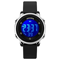 Kids LED Digital Unusual Electrical Luminescent Silicone Outdoor Sport Waterproof Alarm Children Dress Wrist Watch with Stopwatch for Boys Girls (Black)