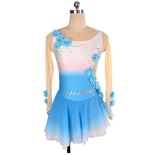 XIAOY Wettbewerb Kostüm Eiskunstlauf Kleid Applique Skating Dress Handarbeit Langärmelige,White+Blue,XXXL