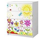 Set Möbelaufkleber für Ikea Kommode MALM 4 Fächer/Schubladen Blume Sonne Schmetterlinge Blumen rot lila Kat2 Kinderzimmer ML4 Aufkleber Möbelfolie sticker (Ohne Möbel) Folie 25B2505