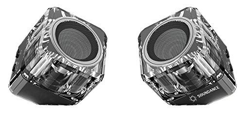 Soundance® altavoces Bluetooth con Bluetooth 4.1 TWS (Verdadero Estéreo sin Cables), EDR (Tasa de Datos Mejorada), y altavoz de sonido completo. Dos altavoces pueden formar un sistema estéreo sin cables de izquierda y derecha de doble canal (Negro)
