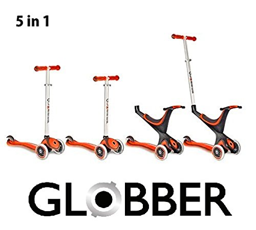Preisvergleich Produktbild Globber Free Kids 5 in 1 Scooter Kickboard Laufrad mit Schiebestange + F26 Sticker (rot-schwarz)