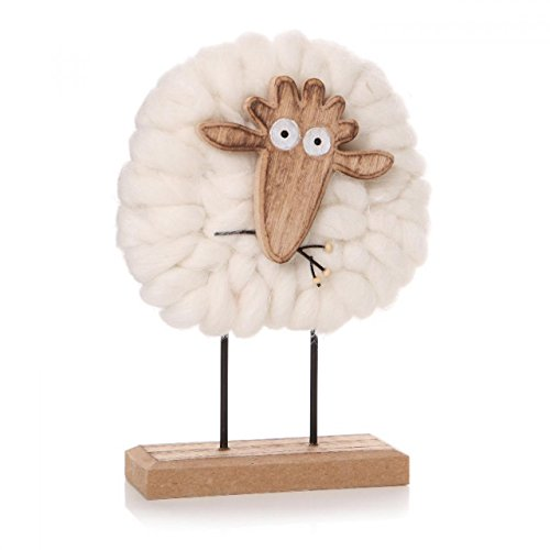Cute Cream Woolly Sheep on a Wooden stand decoration ornament