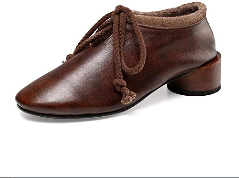 XUE Zapatos de Mujer Zapatos de Conducción con Cordones de Primavera/Verano de Cuero Sandalias de Estilo Nacional...