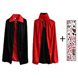 Hook Vampir Kostüm Kinder Umhang Schwarz Rot Teufel Kostüm Mit Tod Kultfaktor Hexe Cape Umhang für Kinder or Damen Halloween Kostüm Mantel Umhang 80cm, 10x Temporäre Tattoos